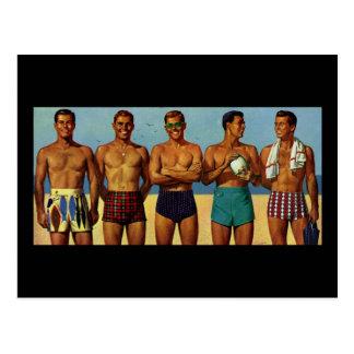 1950s Beach Dudes Postcard