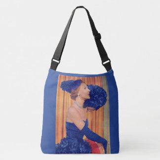 1950s beautiful in blue print crossbody bag
