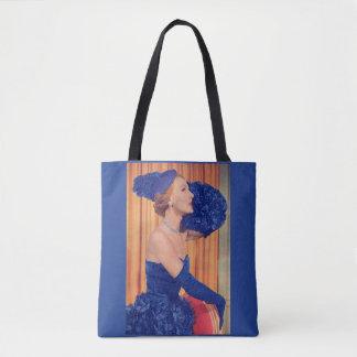 1950s beautiful in blue print tote bag