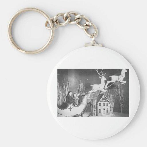 1950's Children on Santa's Sleigh Keychains