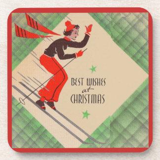 1950s Christmas skier Coaster