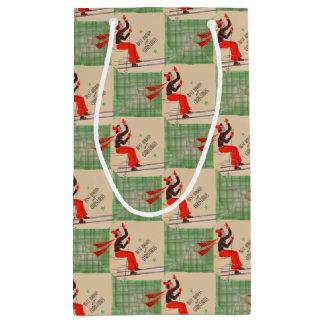 1950s Christmas skier print Small Gift Bag