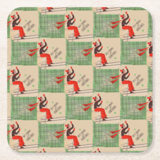 1950s Christmas skier Square Paper Coaster