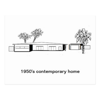 1950's contemporary home postcard