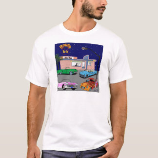 1950s Diner Route 66 and Vintage Cars T-Shirt