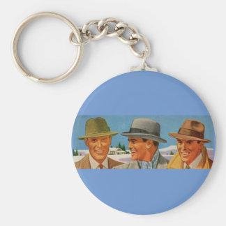 1950s fedora-wearing trio basic round button key ring