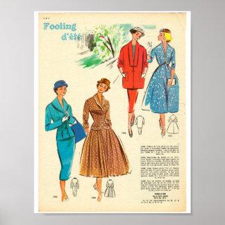 1950s French dress fashion elegant woman ladies Poster