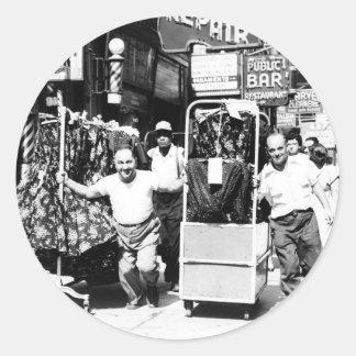 1950's Garment District, New York City Photo Round Stickers
