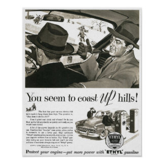 1950s Gasoline Ad Poster