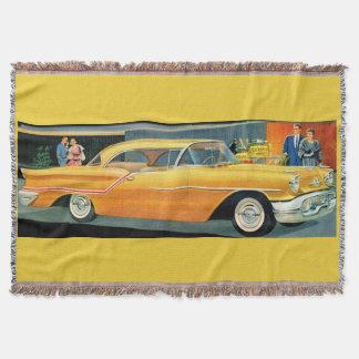 1950s golden Rocket 88 Oldsmobile print Throw Blanket