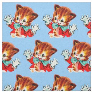 1950s jazz hands kitten print fabric