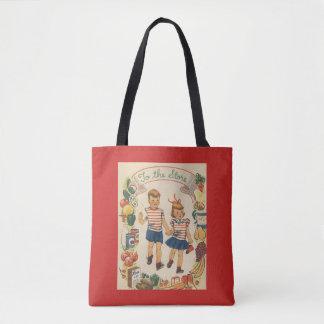1950's Kids Shopping Tote Bag