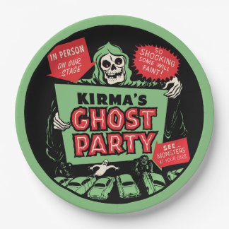1950s Kirma's Ghost Party Spook Show Poster Design Paper Plate