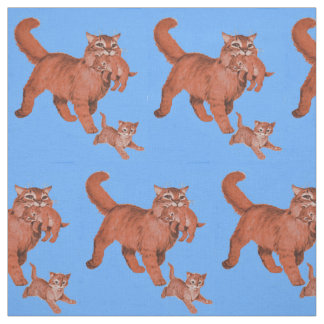 1950s kitty cat mama and little kittens print fabric