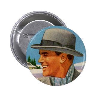 1950s man in his fedora 6 cm round badge