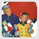 1950s Mum and Daughter Xmas Shopping Square Stickers