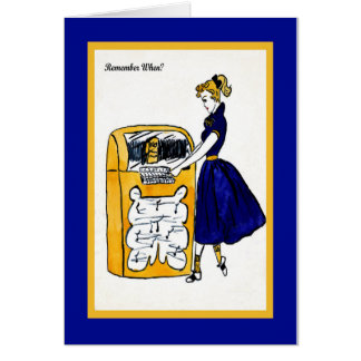 1950's Note Card with Jukebox & Pony Tail Girl