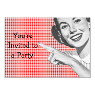 1950s Pointing Young Woman V2 9 Cm X 13 Cm Invitation Card