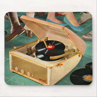 1950s portable record player ad mouse pad