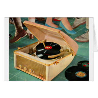 1950s portable record player advertisement card