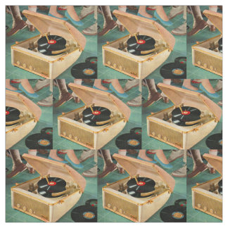 1950s portable record player novelty print fabric