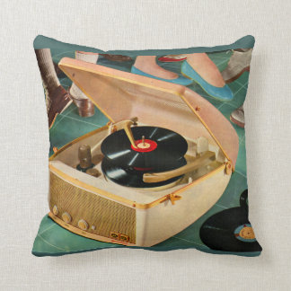 1950s portable record player with records cushion