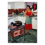 1950s retro vintage housewife in kitchen & turkey