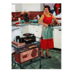 1950s retro vintage housewife in kitchen & turkey postcard
