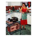 1950s retro vintage housewife in kitchen & turkey postcard