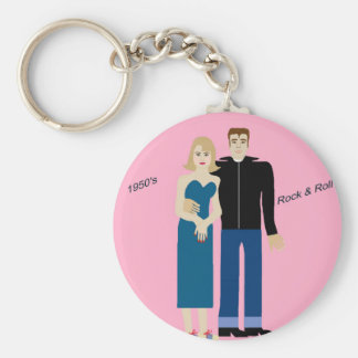 1950's Rock & Roll couple Basic Round Button Key Ring