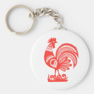 1950's Rooster Basic Round Button Key Ring