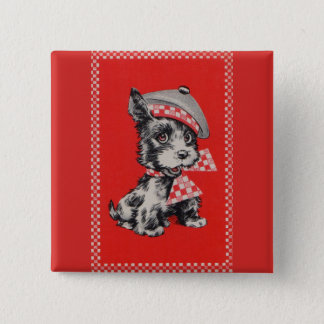 1950s Scottie dog in red 15 Cm Square Badge