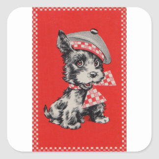 1950s Scottie dog in red Square Sticker