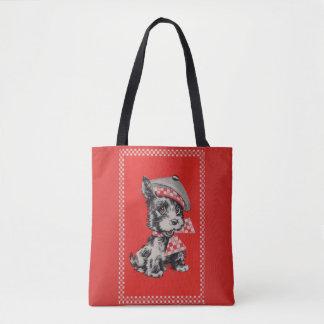1950s Scottie dog in red Tote Bag
