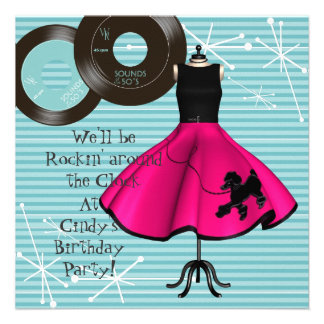 1950's Theme Birthday Party Custom Invitations