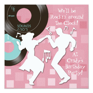 "1950's Theme Birthday Party 5.25"" Square Invitation Card"