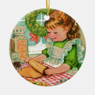 1950'S Vintage Christmas Girl Baking Cookies Ceramic Ornament