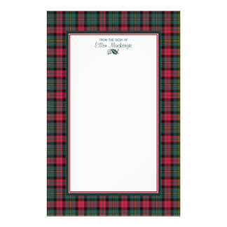 1950s Vintage Christmas Plaid Personalized Stationery