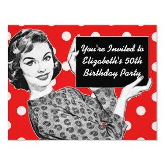 1950s Woman with a Sign Birthday 11 Cm X 14 Cm Invitation Card