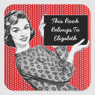 1950s Woman with a Sign Bookplate Square Sticker