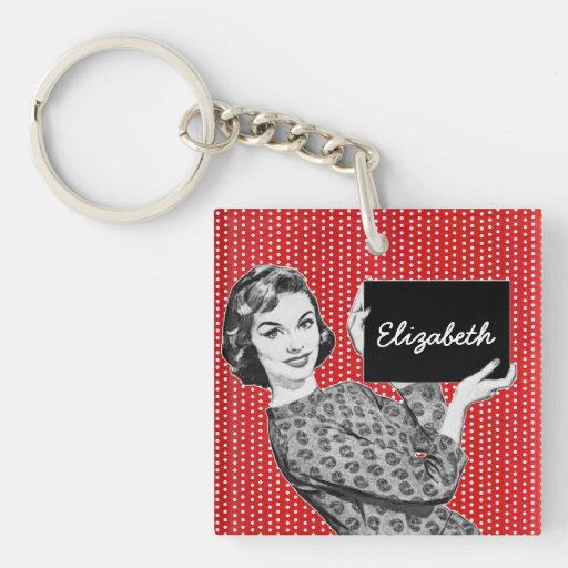 1950s Woman with a Sign Square Acrylic Key Chains
