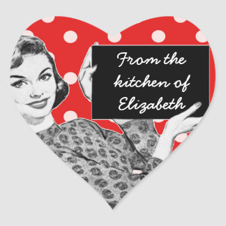 1950s Woman with a Sign Kitchen Heart Sticker