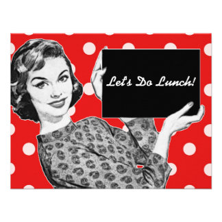 1950s Woman with a Sign Luncheon Invites