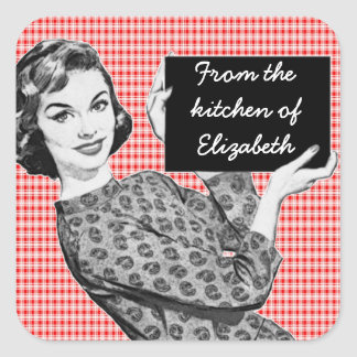 1950s Woman with a Sign V2 Kitchen Labels