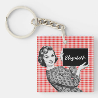 1950s Woman with a Sign V2 Single-Sided Square Acrylic Key Ring
