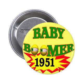 1951 Baby Boomer Pinback Button