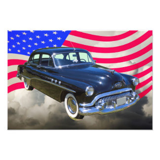1951 Buick Eight Antique Car And US Flag Art Photo