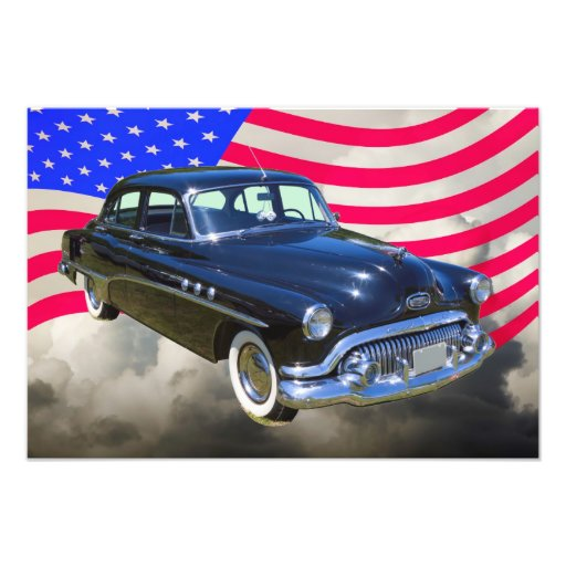 1951 Buick Eight Antique Car And US Flag Photo