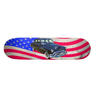 1951 Buick Eight Antique Car And US Flag Skate Deck