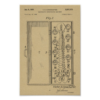 1951 Vintage Chiropractic Spine Patent Art Print